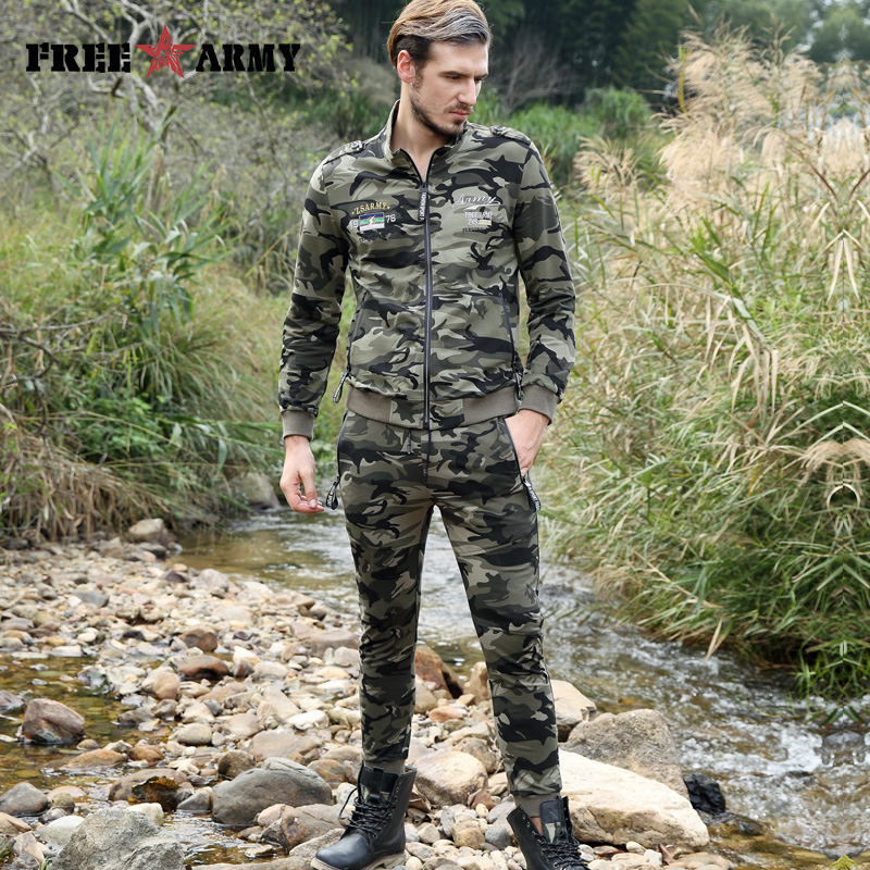 Men's Outfit Camouflage Fashion Sweat Pants Tracksuits Men's Set Long Sleeve Jacket+Full Length Pants Men Suit Two Pieces Sets