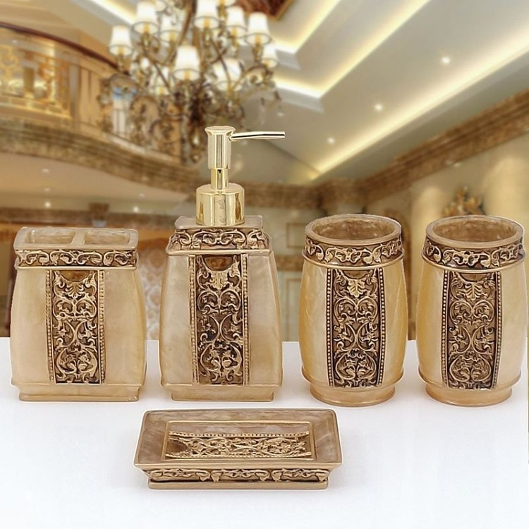 New 5pcs Rome Aristocracy Bathroom Accessories Set Bath Resin Cup Toothbrush Holder Free Shipping