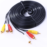 3 RCA Composite Male To Male Audio Video AV Cable 10m For DVD TV Hi