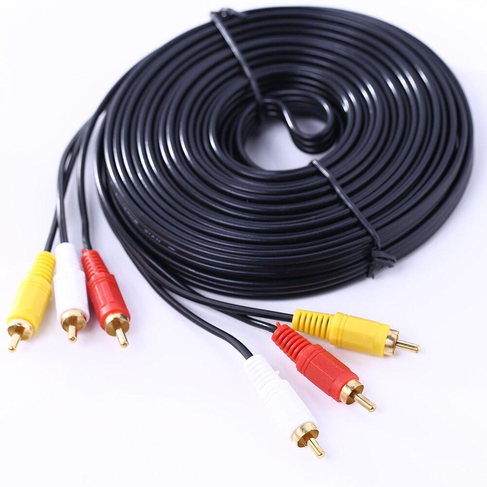 10m 3 rca macho para macho áudio vídeo av cabo tv extensão cabo cabo de conexão fio para dvd tv hi-fi vídeo cd player