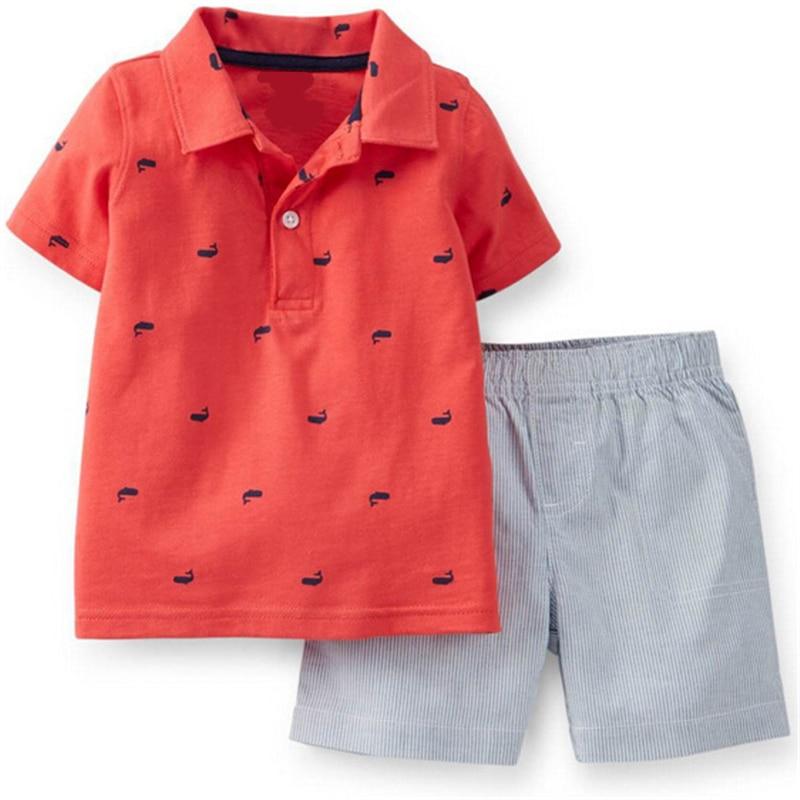 Cotton Baby Outfit Sale 2017 Summer Fashion Baby Boy Clothes T shirt + Pants 2pcs Infant Clothes