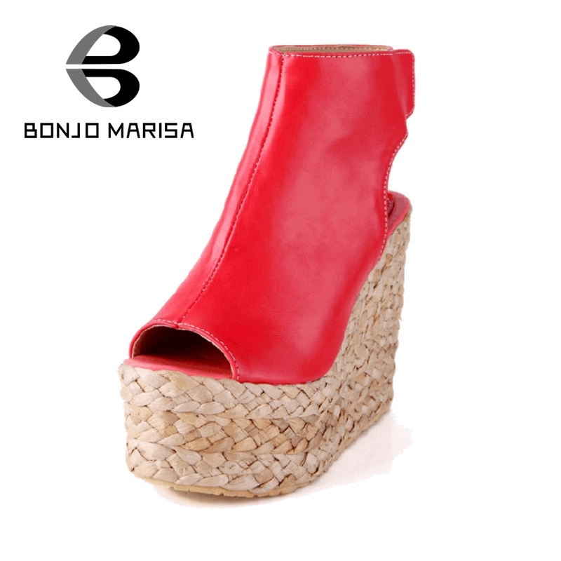 ФОТО Big Size 34-43 Straw Wedge High Heel Sandals thick Platform Summer Shoes Woman Sexy Peep Toe Party Sandals BONJOMARISA