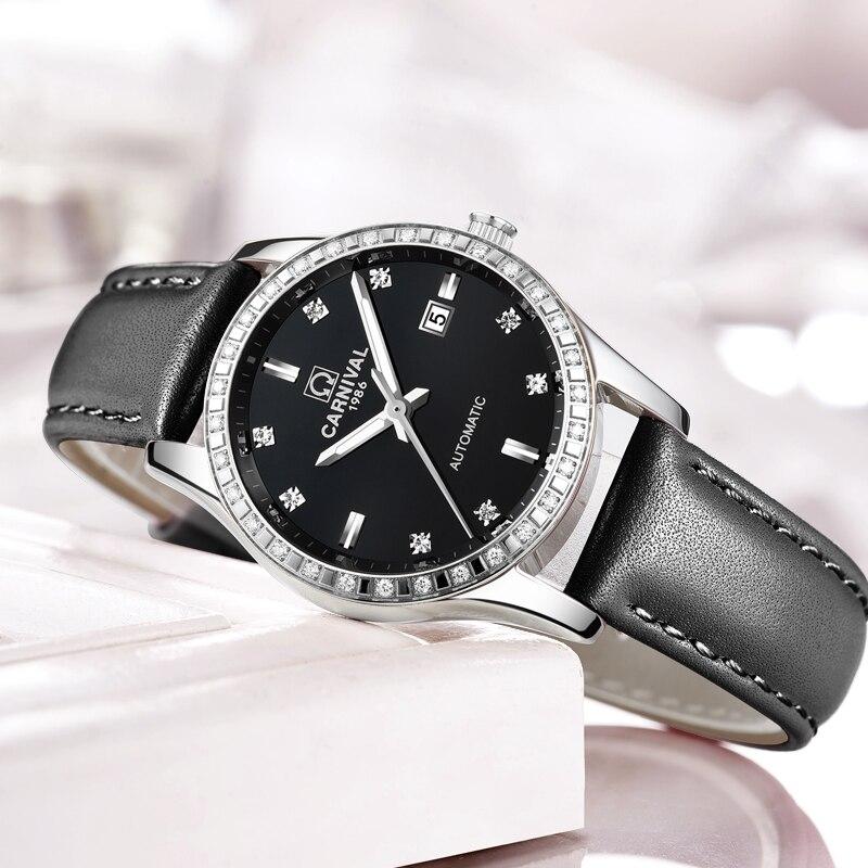 Schweiz Karneval Frauen Uhren Luxus Marke damen Automatische Mechanische Uhr Frauen Wasserdichte relogio feminino 8685L 17-in Damenuhren aus Uhren bei  Gruppe 2