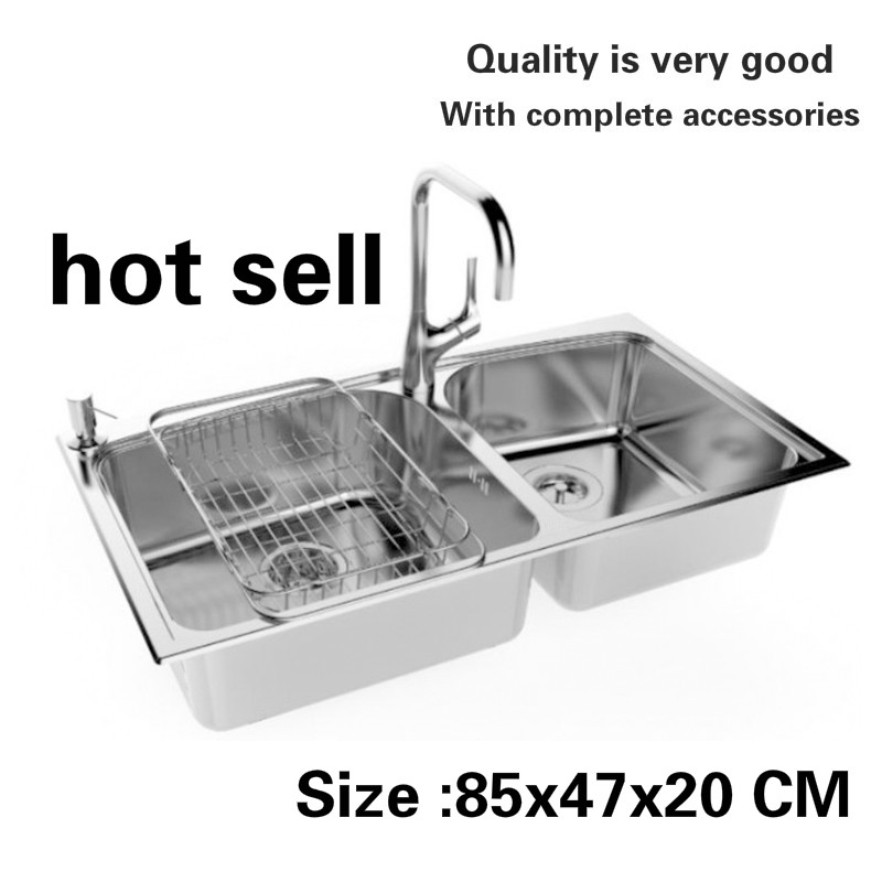 Free Shipping Luxury Kitchen Double Groove Sink Durable Wash The Dishes 304 Stainless Steel High Quality Big Hot Sell 85x47 CM