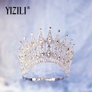 Image 2 - YIZILI חדש יוקרה גדול הכלה חתונה כתר ריינסטון מדהים קריסטל גדול עגול מלכת כתר חתונה שיער אביזרי C070
