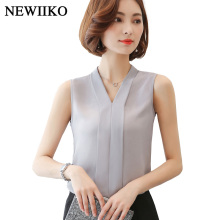 Sleeveless Solid v-Neck Summer Blouse Chiffon Tops