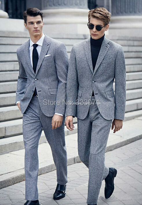 Wool Grey Groom Tuxedos Business Casual Slim Fit Blazer Tailor Suit For Men Wedding Party Dress Custom Made 2 Piece Suits In From Mens Clothing