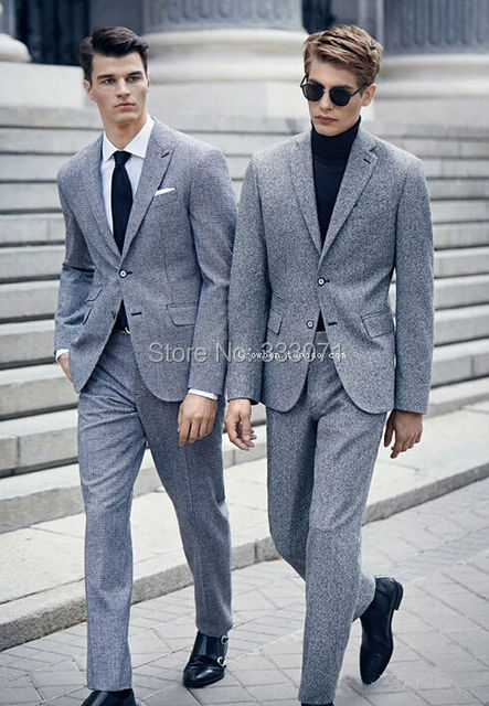 Wool Grey Groom Tuxedos Business Casual Slim Fit Blazer Tailor Suit For Men Wedding Party Dress
