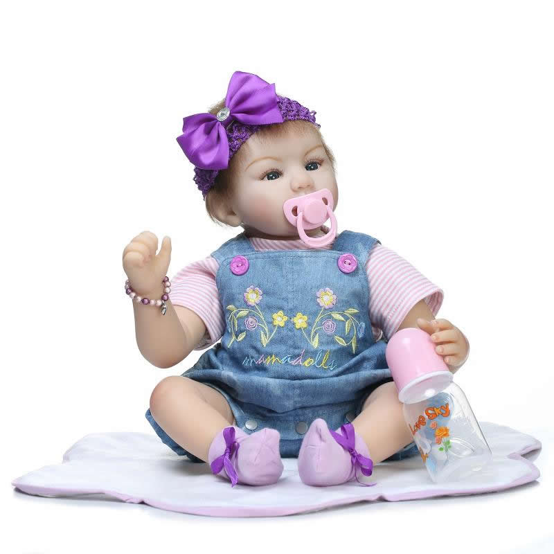 Real Touch Soft Silicone Baby Doll Reborn 22 Inch 55 cm Alive Girl Newborn Dolls Handmade Babies Toys Kids Birthday Xmas Gift handmade 22 inch newborn baby girl doll lifelike reborn silicone baby dolls wearing pink dress kids birthday xmas gift