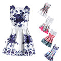 2017 Summer Kids Dresses For Girl Butterfly Floral Printed Sleeveless casual Girl Dresses Age 6 7 8 9 10 11 12 Year Party Dress