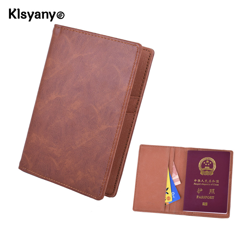 Klsyanyo PU Leather Men/Women Passport Cover Case Business Card Holder Credit Card ID Holders Driver's License Cover Card Bags