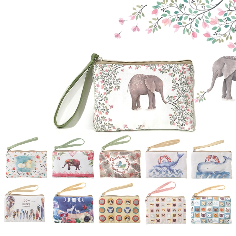 THINKTHENDO Women Canvas Wallet Small Bags Zip Card Coin Holder Purse Phone Pouch Change Purse