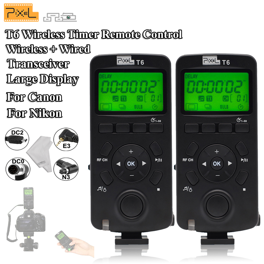 Pixel T6 Wireless Transceiver Timer Shutter Release Remote Control LCD with Cable For Canon Nikon D7000 D5000 D3200 D3100 Camera tc n3 1 1 lcd camera timer remote controller for nikon d90 d5000