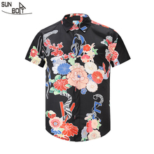 Sunboat Brand 2017 New Arrivals 3D Printed Snakes And Flowers Short sleeved Shirt High Quality font