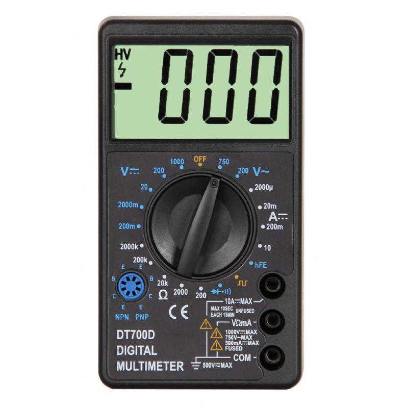 WHDZ DT700D Mini Multímetro Digital de Pantalla Grande Timbre sobrecarga Voltaje Ampere Ohm Tester Sonda de Salida de Onda Cuadrada