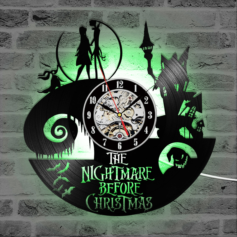 The Nightmare Before Christmas Theme CD Record Clock 3D Jack And Sally Film Hanging LED Wall Clock Creative Antique Clock