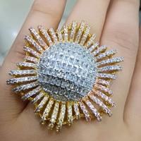 GODKI Luxury 3 Tone Engagement Wedding SUN Flower Rings for Women Bridal Cubic Zircon Dubai Accessories Finger Ring Jewelry 2019