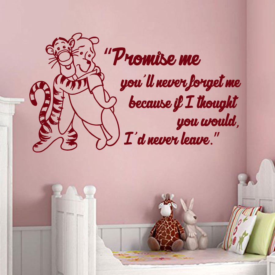 Winnie The Pooh Wall Quotes: Wall Decals Quote Promise Me You'll Never Forget Me Winnie