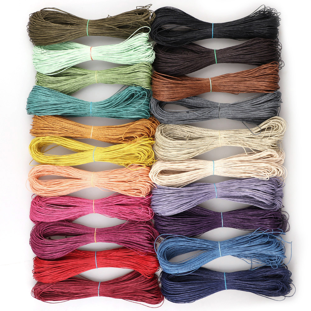 21colors 70m/lot  Waxed Leather Thread Wax Cotton Cord String Strap DIY Woven Bracelet Necklace Jewelry Accessories 1mm