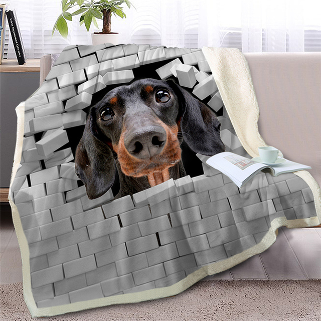 3D Dachshund or PUG Throw Blanket