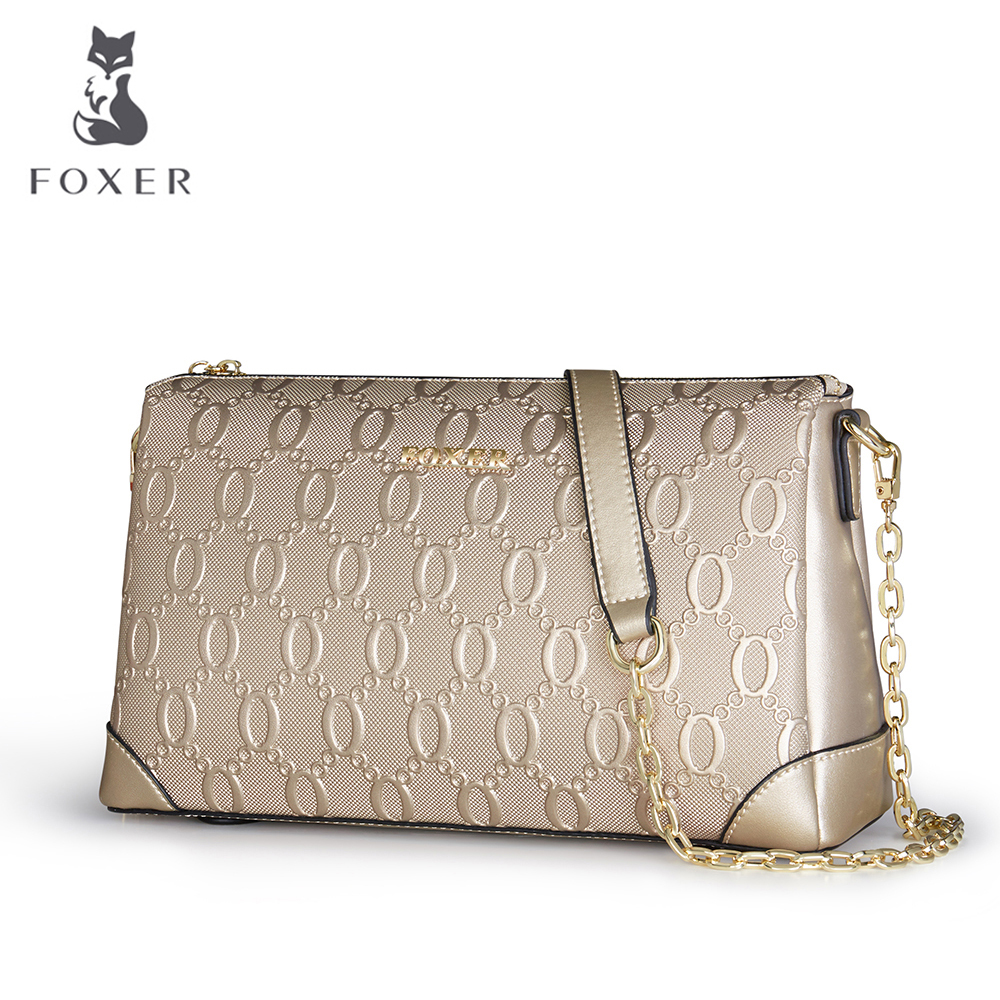 FOXER Fashion Women's Cow Läder Skulderväska Luxury Women Crossbody Väskor Ladies Messenger Bag Feminina För Väskor