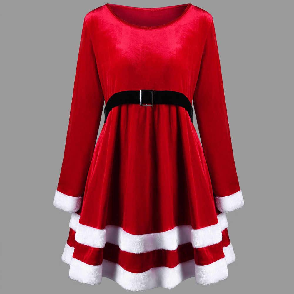 7a1cdb5d26a Модные рождественские платья Женская одежда пикантные Санта Клаус Хэллоуин  красный бархат с круглым вырезом и длинными