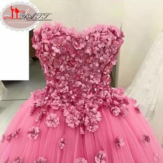 ac47683f28a New Arrival Amazing Sweetheart Pink Evening Prom Dresses 3D Flowers  Handmade Arabic Extra Puffy Women Gown 2017 LIYATT