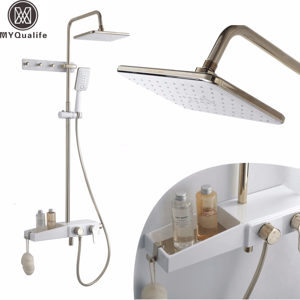 White Color Rain Shower Faucet set Furniture Shower Mixer Tap Single Handle Shower Sytem with Storage Shelf Towel Hooks watercolor wolf fabric shower curtain with hooks