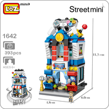 LOZ City Street Series 1642 Computer Video Game Room 3D Model 393pcs DIY Mini Blocks Bricks Assembly Building Toy Gift