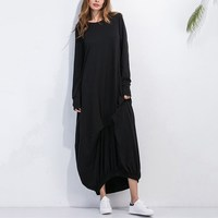 Today Plus 2017 Women Long Sleeve Asymetrical Hem Dress O Neck Casual Loose Dresses Casual Shirt