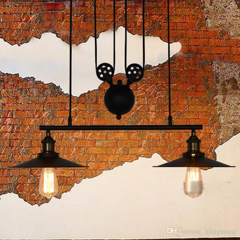 RH Lighting Vintage Industrial Pulley Pendant Lights Loft American Adjustable Wire 3 Heads Pulley Light Edison Pendant Lamps