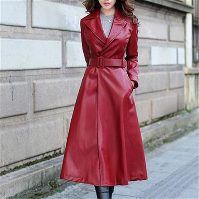 Women Elegant Pu Single-Button Waistband Long Leather Jacket Fashion Lady Overcoat Plus Velvet Leather Jacket Female 1654