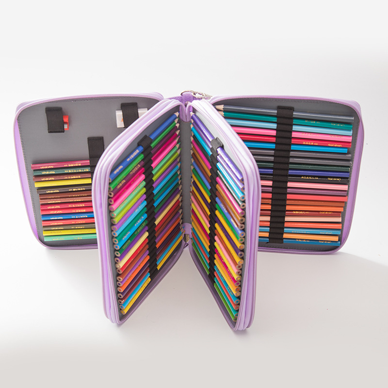 124 holes Pencil Case stationery Large Capacity School office Gift pouch Art Markers pens box Painting Folding box set with belt staedtler 308 sbk3p 3 pcs art markers pens set send backpack stationery office accessories school supplies