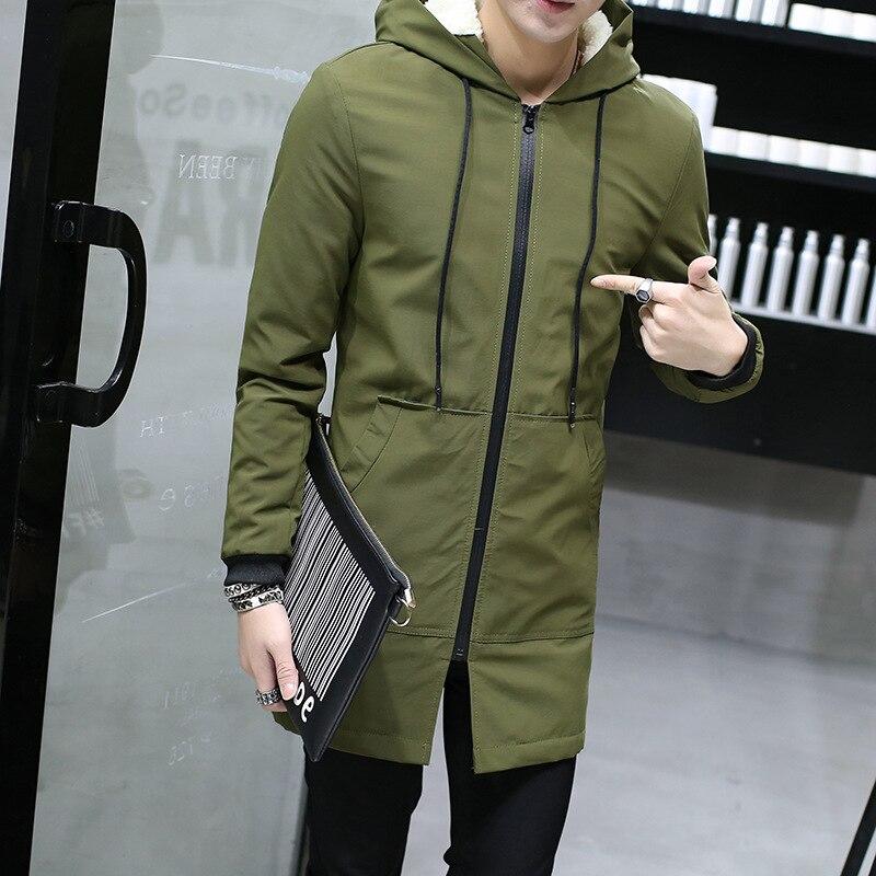 3e2f4832442c3 Aliexpress.com  Comprar 2018 chaqueta de invierno para Hombre con capucha  delgada Parka coreana Hombre Chaqueta larga abrigo Cachemira Hombre  rompevientos ...