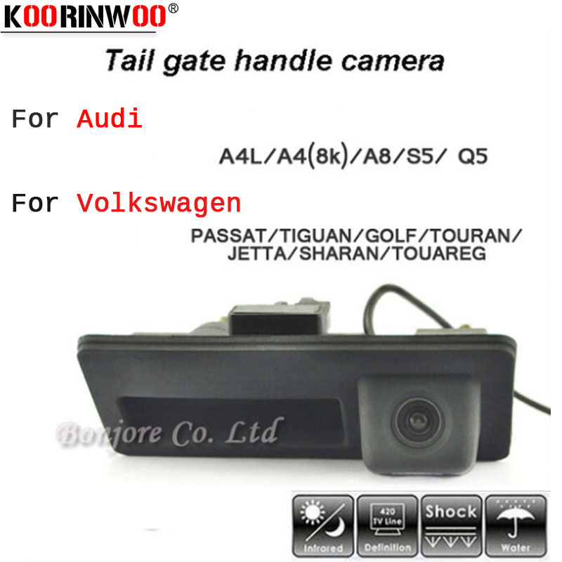 Koorinwoo HD CCD Car Runk Handle Track Parcheggio Rearview Backup Camera per Audi / VW / Passat / Tiguan / Golf / Touran / Jetta / Sharan / Touareg