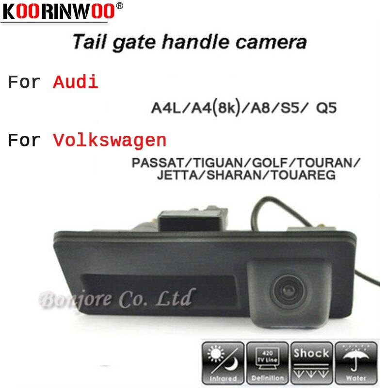 Koorinwoo HD CCD Voiture Runk Poignée Piste Parking Rétroviseur Caméra De Recul pour Audi/VW/Passat/Tiguan/ golf/Touran/Jetta/Sharan/Touareg