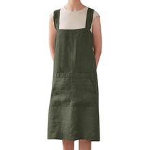Feitong Plus Size Linen Dress Women Pinafore Square Cross Apron Dresses  Female Garden Work Pinafore Dress 787f775d80cc
