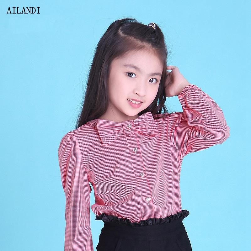 2016 Autumn New Princess Long Sleeve Bow Blouse Korea Fashion Children Tops Clothes Red and Black O-neck Shirts