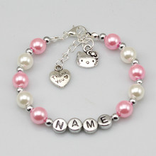 baby Name Personalised Girl Birthday Gift Charm Bracelet cat pink and white