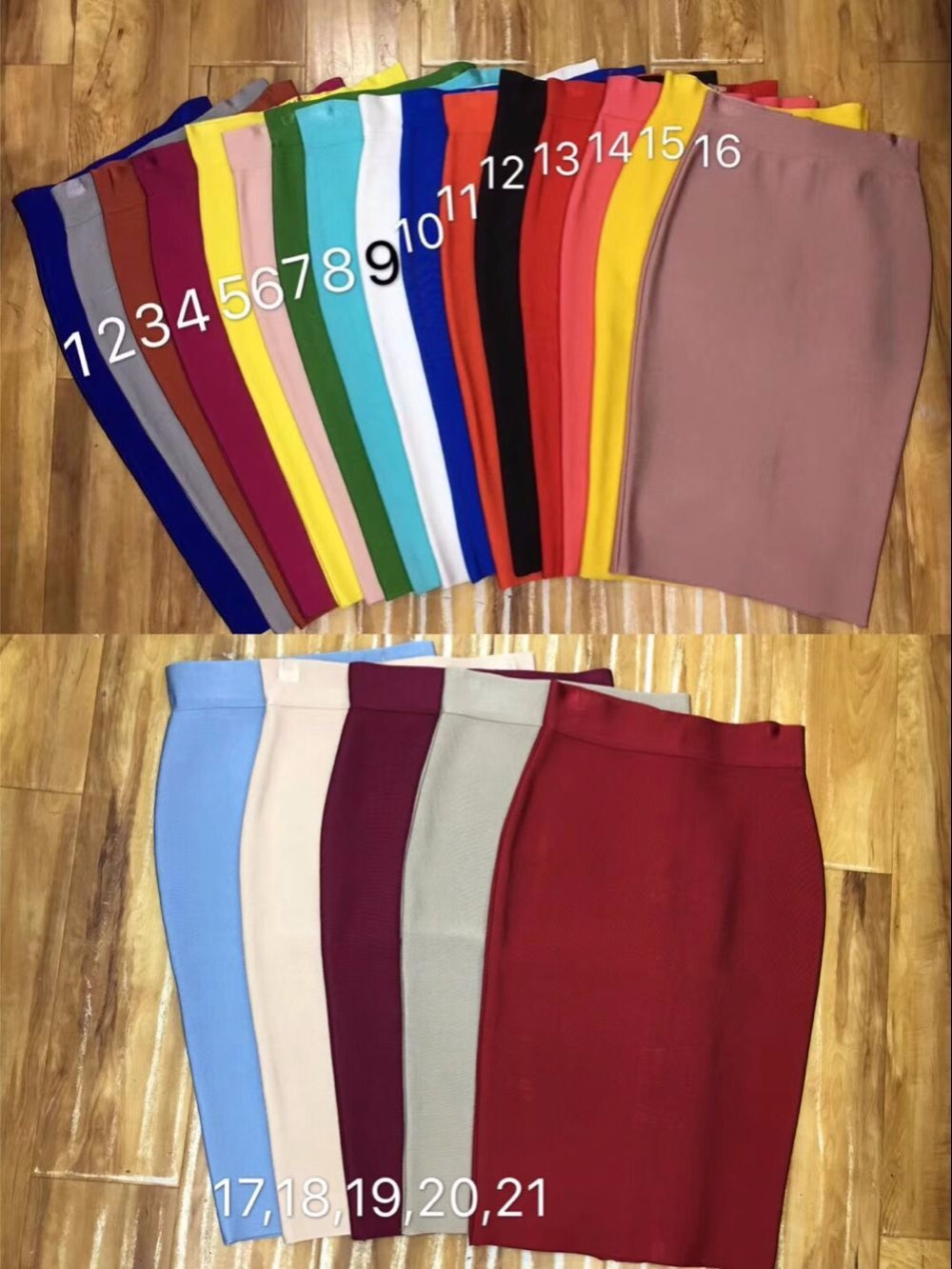 Top Quality Girl Sexy 21 Colors  Knee Length  Bandage Pencil Women Pary Fashion Formal Skirt