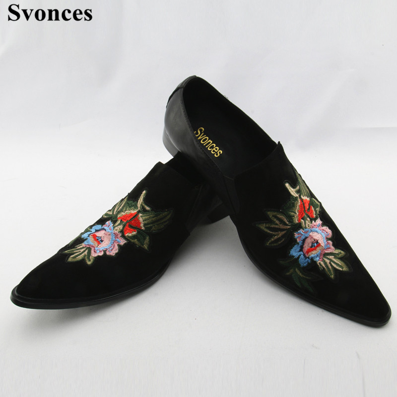 d0faf78b2e1d Svonces Mocassin Homme Suede Mens Loafers Leather Black Dress Shoes With  Floral Embroidery Party Slip on Slippers Shoes Men-in Men s Casual Shoes  from Shoes ...