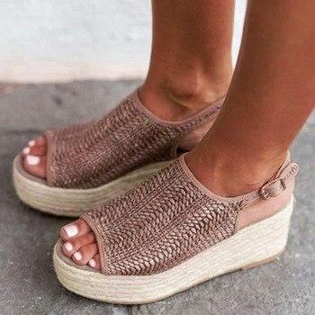 Oeak 2019 Summer Women Hemp Sandals Fashion Female Beach Shoes  Heels Shoes Comfortable Platform Shoes Plus size 35-43