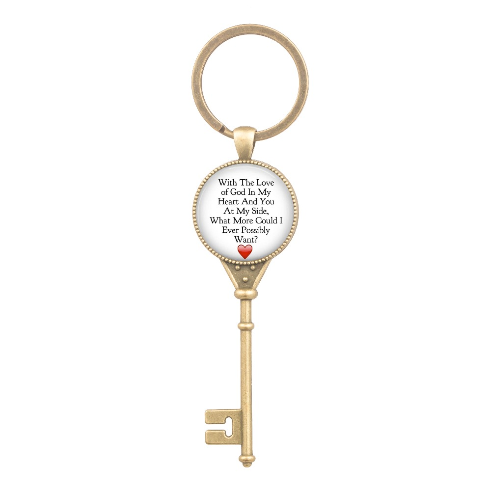 With The Love of God in My Heart Keychain Quotes Key Pendant Best Gifts Christian Husband Wife Girlfriend Boyfriend image