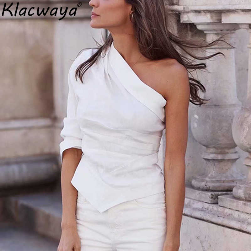 Fashion Women White One Shoulder Shirts 2019 Ladies Summer-Autumn Cotton-Linen Blouse Chic Girls Casual Street-wear Tops femme