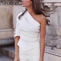 Mode femmes blanc une épaule chemises 2019 dames été-automne coton-lin Blouse Chic filles décontracté Street-wear hauts femme