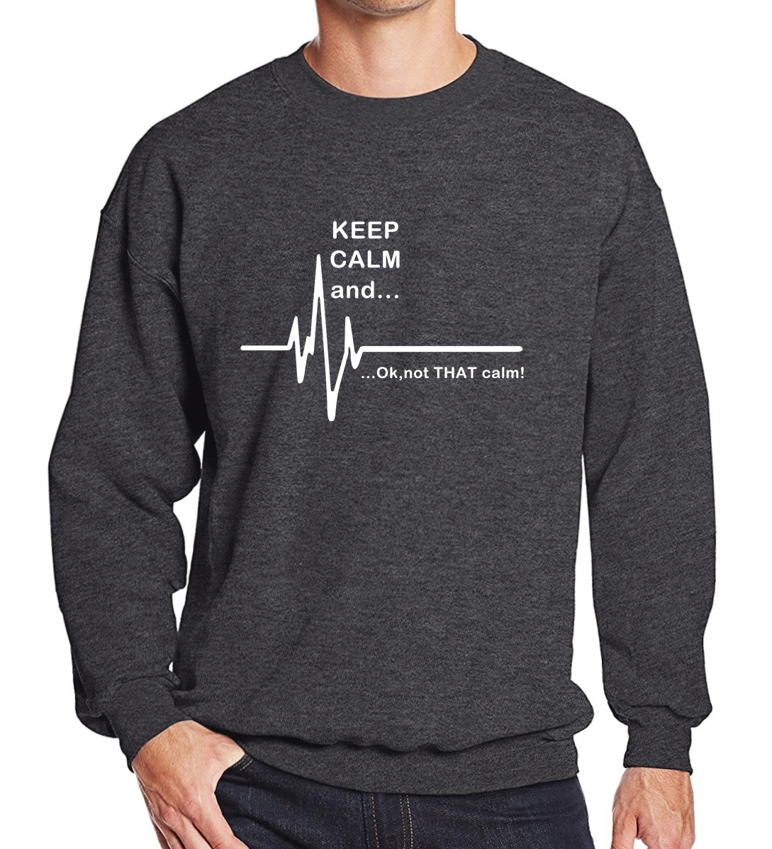 Men's Sportswear 2019 Hoodies Men Keep Calm And...Not That Calm Funny EKG Heart Rate Print Fashion Sweatshirt Fleece Tracksuits