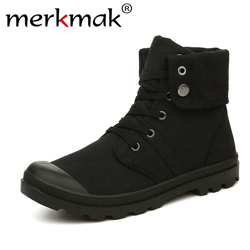 Merkmak Autumn Winter Men Canvas Boots Army Combat Style Fashion High-top Military Ankle Boots Men's Shoes Comfortable Sneakers new palladium fashion style high top tactical military boots man and woman outdoor travel hiking boots comfortable canvas shoe