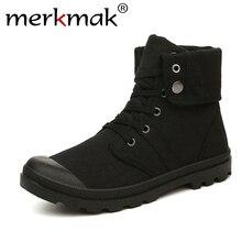 Merkmak/осень-зима Для мужчин Холщовые сапоги армейская Стиль модные высокие военные ботильоны Для мужчин обувь удобные кроссовки