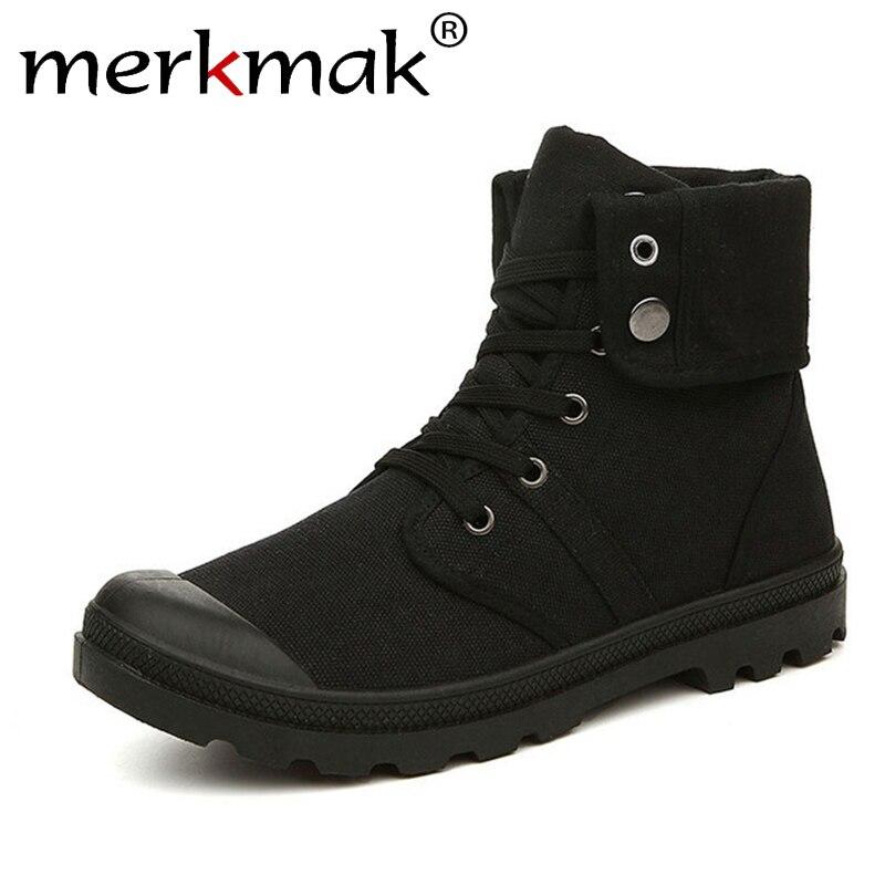 Merkmak Otoño Invierno de lona de los hombres botas de combate del ejército estilo de moda de alta-militar tobillo botas de los hombres zapatos cómodos zapatillas de deporte