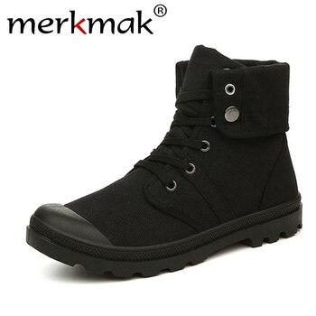 Merkmak jesień zima mężczyźni buty płócienne armii walka styl mody wysokiej chodaki botki wojskowe buty męskie wygodne adidasy